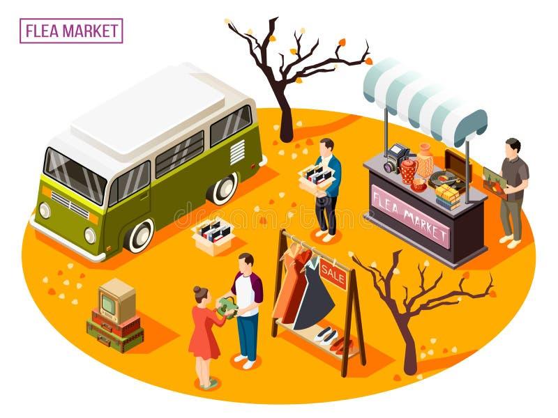 Composition isométrique en marché aux puces illustration libre de droits