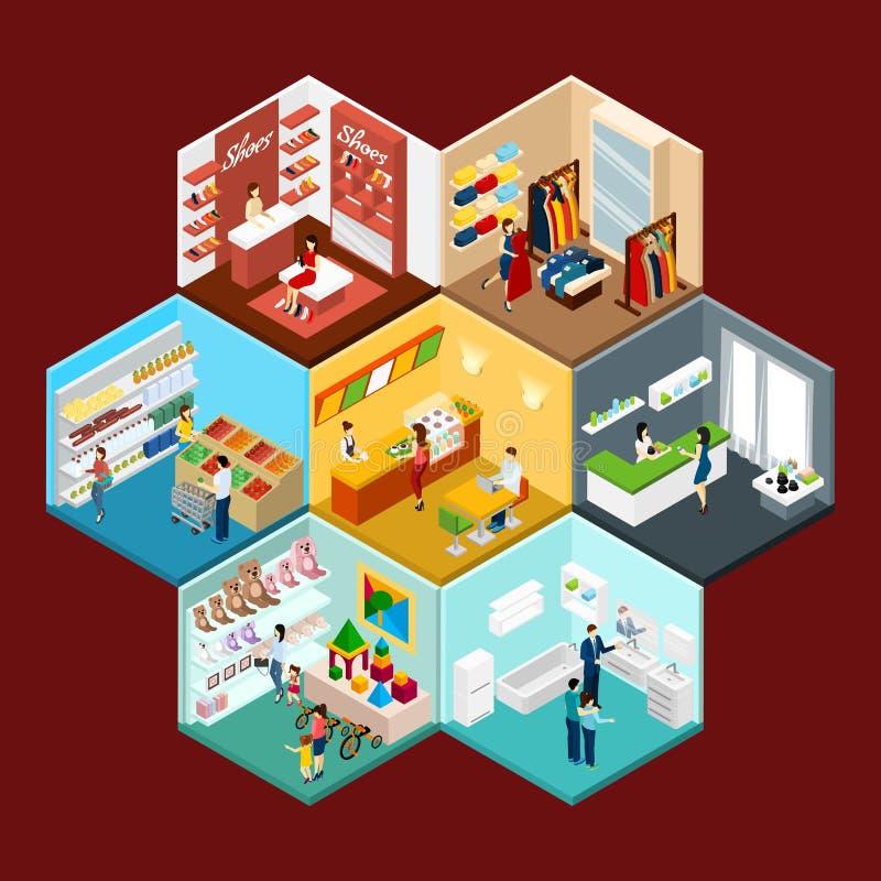 Composition isométrique en modèle hexagonal de centre commercial illustration de vecteur