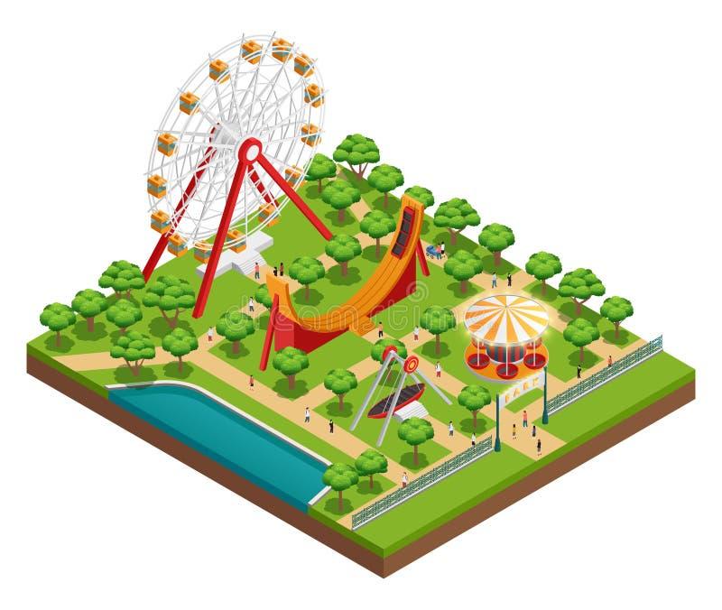 Composition isométrique en parc d'attractions illustration de vecteur