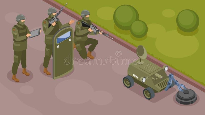 Composition isométrique en robots militaires illustration de vecteur