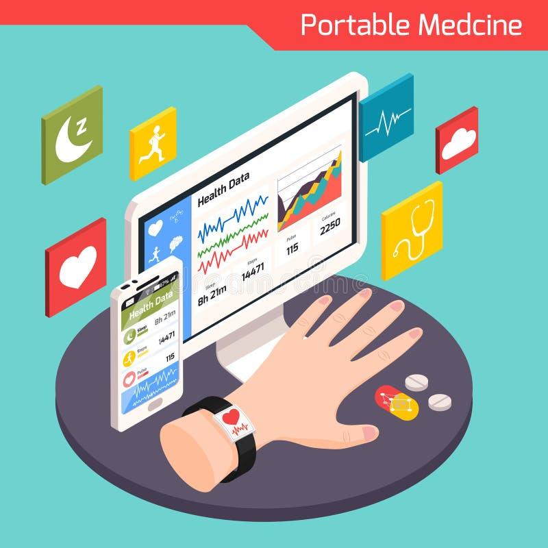 Composition isométrique en technologie médicale illustration stock