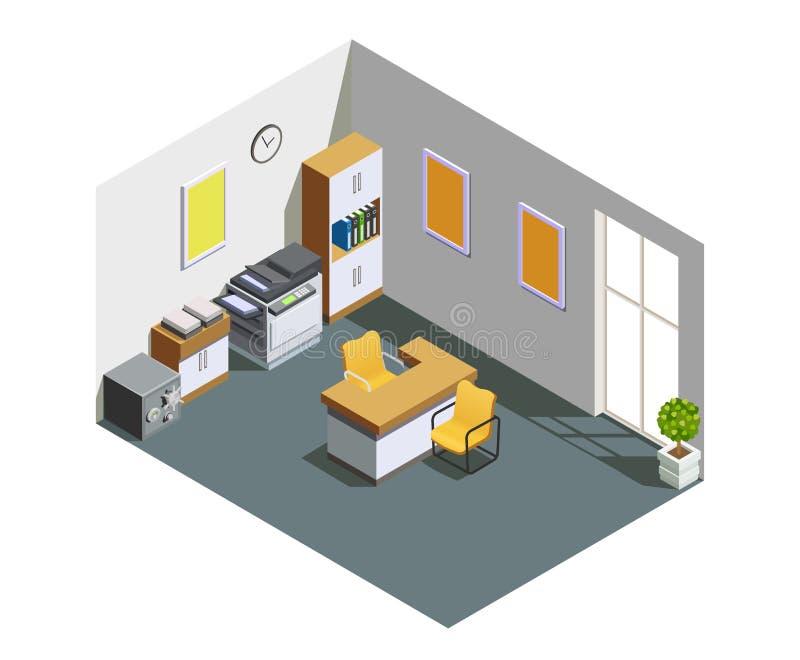 Composition isométrique intérieure en bureau de banque illustration libre de droits