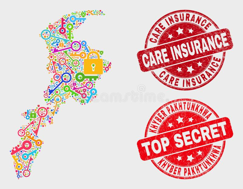 Composition of Key Khyber Pakhtunkhwa Province Map and Distress Care Insurance Stamp Seal royalty free illustration