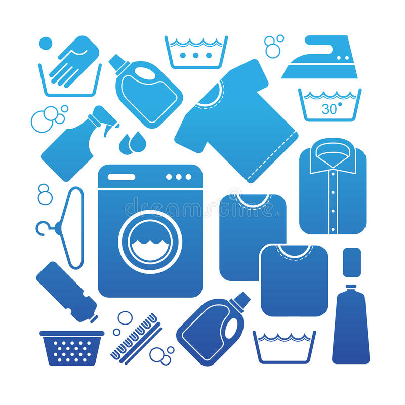 Composition with laundry symbols. Composition with laundry and washing symbols in a shape of square royalty free illustration