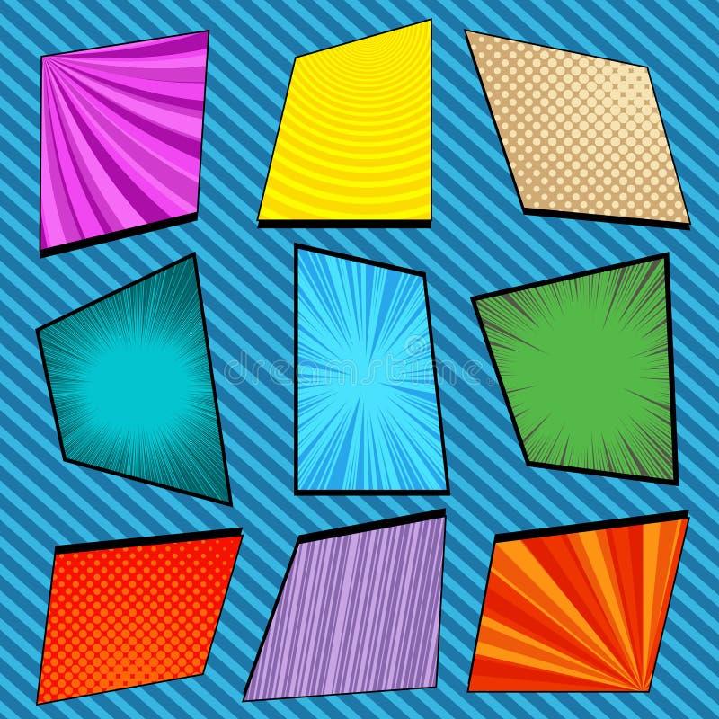 Composition lumineuse colorée comique en cadres illustration libre de droits