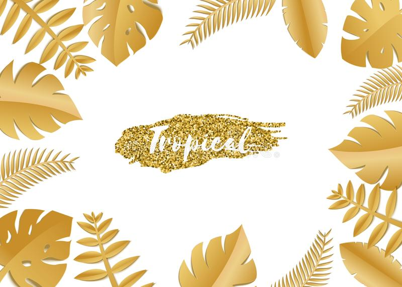 Composition with luxury golden jungle leaves on white background in paper cut style. Tropical gold leaf frame, template vector illustration