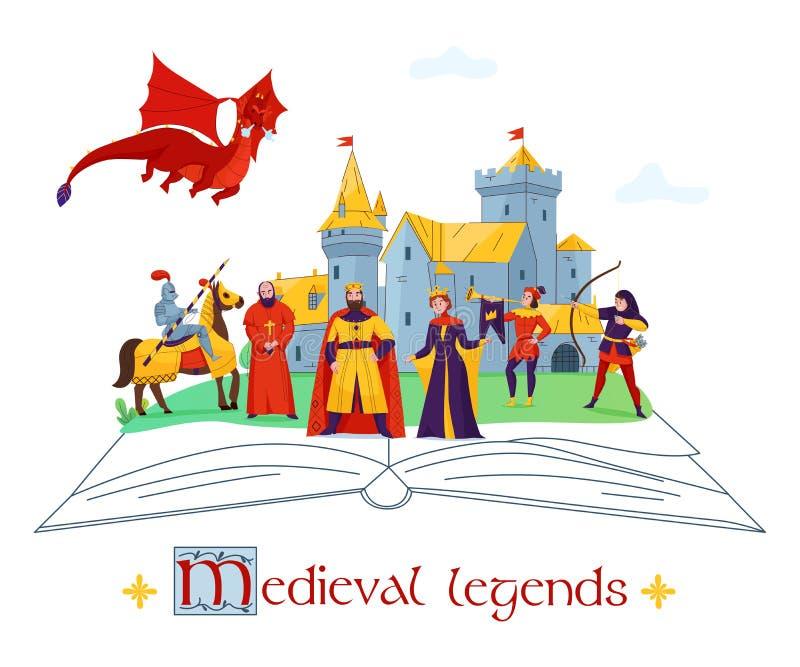 Composition médiévale en concept de légendes illustration de vecteur