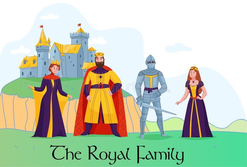 Composition médiévale en redevance de royaume illustration stock
