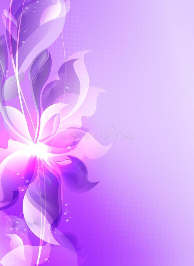 Composition mauve-clair avec les silhouettes abstraites des feuilles et des fleurs illustration stock