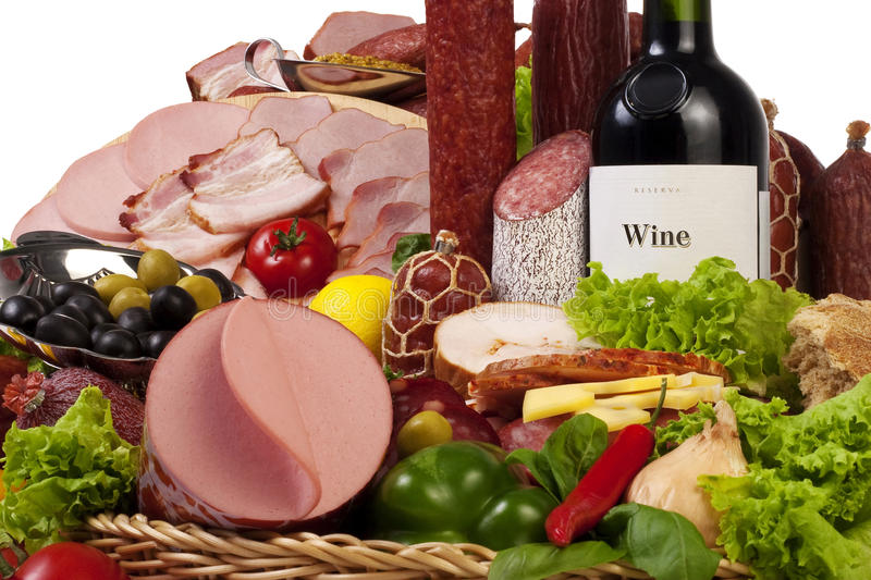 Download A Composition Of Meat And Vegetables With Wine Stock Photo - Image: 14892688