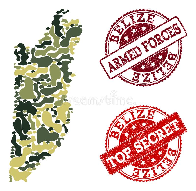 Composition militaire de camouflage de carte de Belize et de joints secrets grunges illustration libre de droits