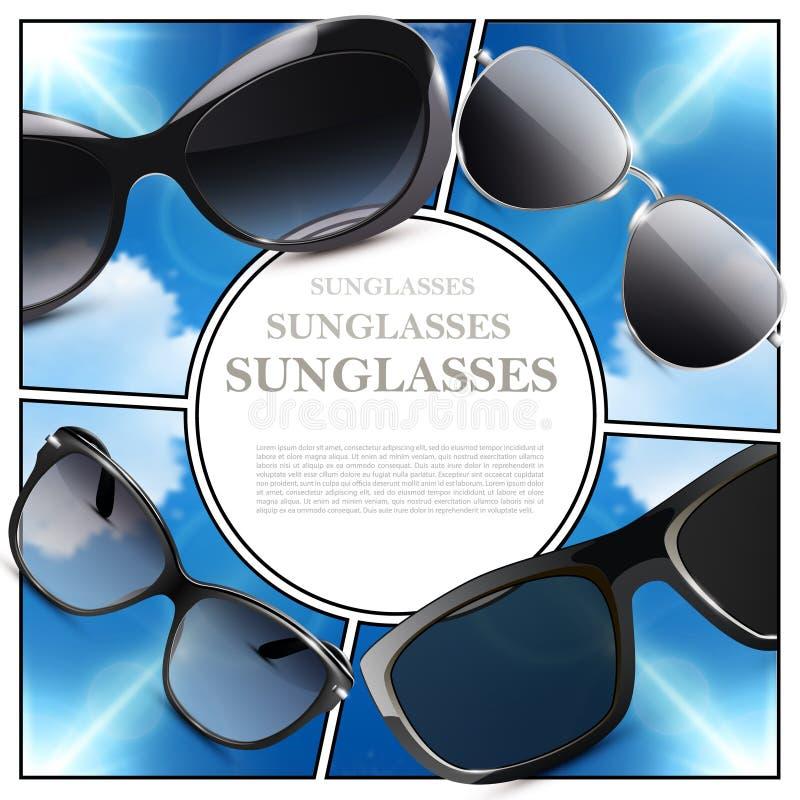 Composition moderne réaliste en lunettes de soleil illustration stock