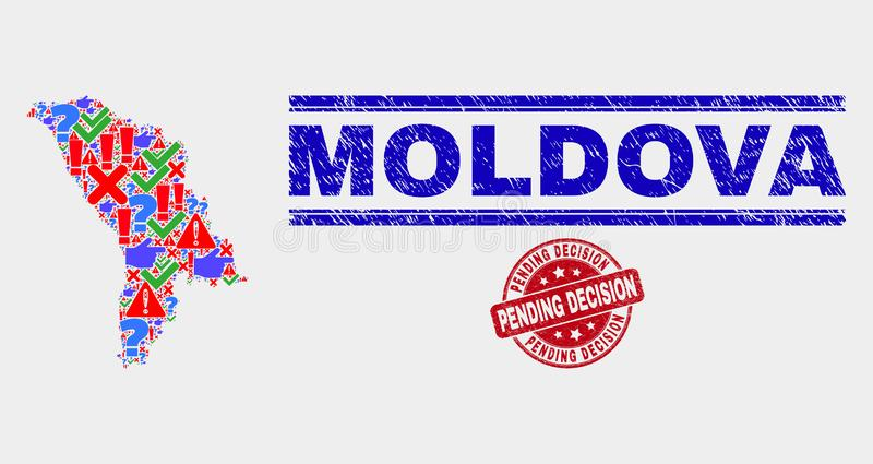 Composition of Moldova Map Symbol Mosaic and Grunge Pending Decision Seal. Sign Mosaic Moldova map and seal stamps. Red rounded Pending Decision scratched seal vector illustration