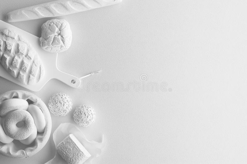 Composition monochrome de la figure blanche du pain, long pain, petits pains, produits de boulangerie sur un fond blanc Bannière  illustration libre de droits