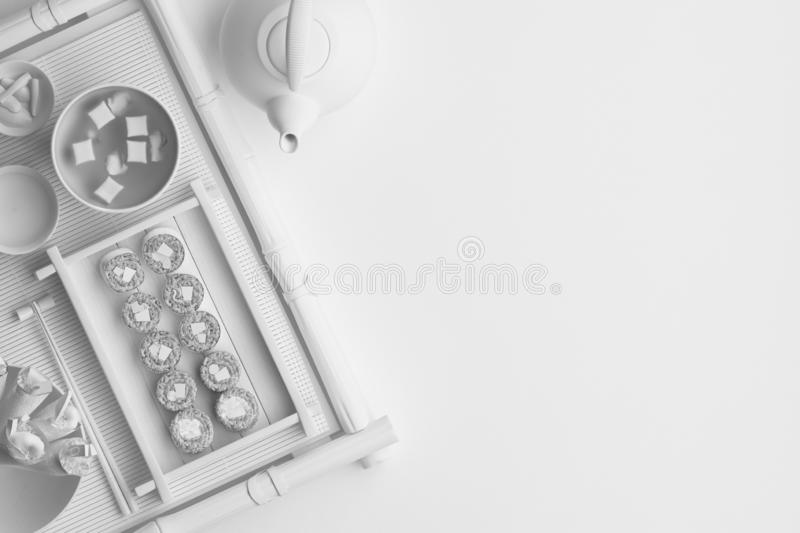 Composition of morning breakfast with a cup of coffee and a croissant on a white background. Banner with copy space for text. A se. T of food on the top view. 3D vector illustration
