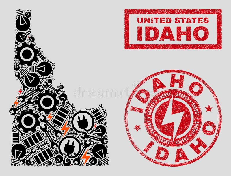 Electric Collage Idaho State Map and Snowflakes and Scratched Stamp Seals. Composition of mosaic power supply Idaho State map and grunge seals. Mosaic vector vector illustration