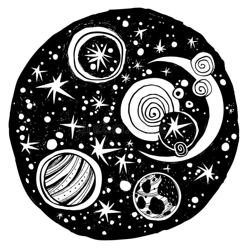 Composition naïve en espace de nuit de kawaii illustration de vecteur