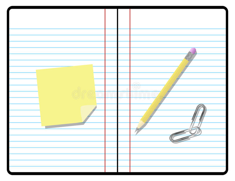 composition notebook composition notebook with pencil paper and sticky royalty free