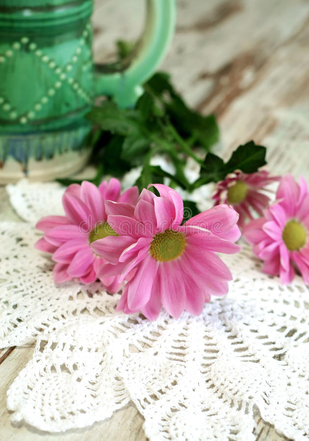 Free Composition Of Pink Chrysanthemums And Knitted Nap Royalty Free Stock Image - 15345606