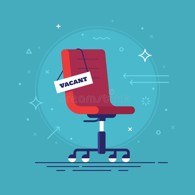 Composition with office chair and a sign vacant. Business hiring and recruiting concept. Vector illustration. vector illustration