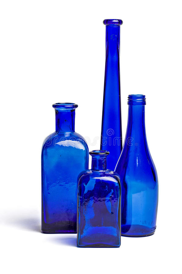 Composition of old blue bottles stock photos