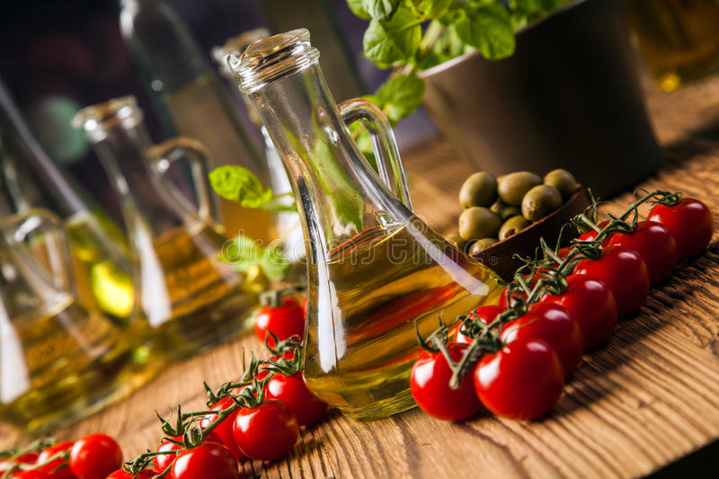 Download Composition Of Olive Oils In Bottles Stock Photo - Image: 36142920