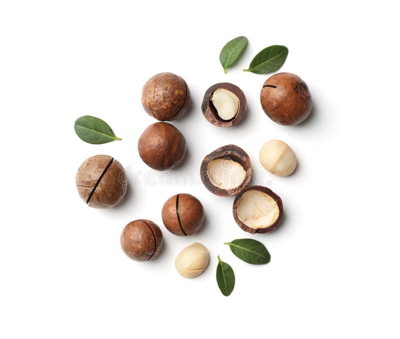 Composition with organic Macadamia nuts royalty free stock photography