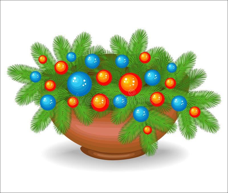 Composition originale des branches d'arbre de Noël Symbole traditionnel de la nouvelle ann?e Cr?e une humeur de f?te Décoré de lu illustration libre de droits