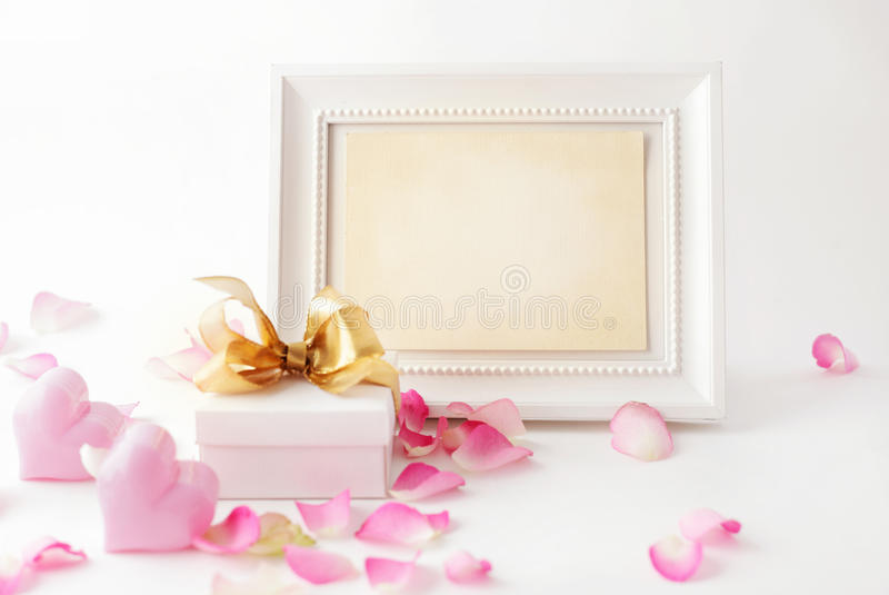 Composition with photo frame stock photo