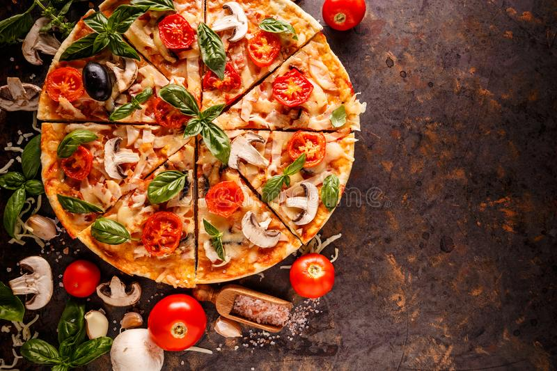 Composition with pizza stock image