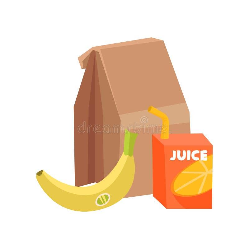 Composition plate de vecteur du repas scolaire Sac de papier, banane mûre et boîte de jus avec la paille à boire Consommation sai illustration de vecteur