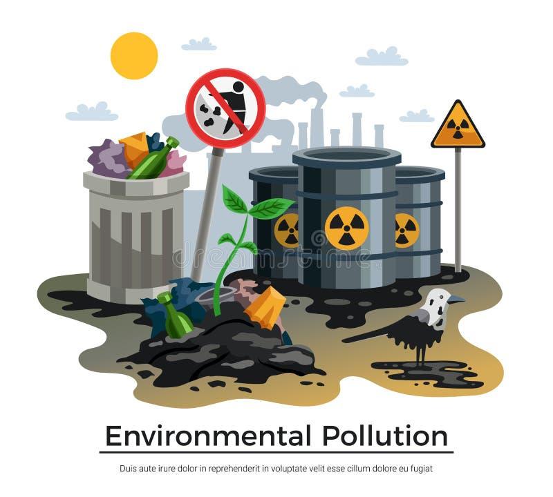 Composition plate en écologie de pollution illustration libre de droits