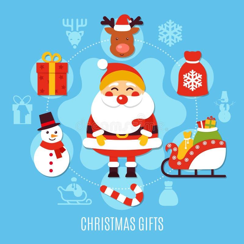 Composition plate en cadeaux de Noël illustration de vecteur