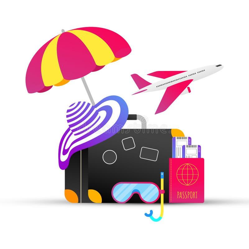 Composition plate en conception de style de vacances de vacances d'été de gradient tropical de voyage illustration stock