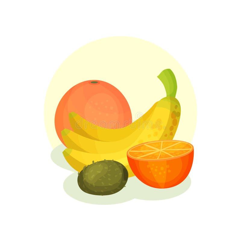 Composition plate en vecteur avec l'orange, les bananes et le kiwi frais Produits naturels Nourriture organique et saine illustration stock