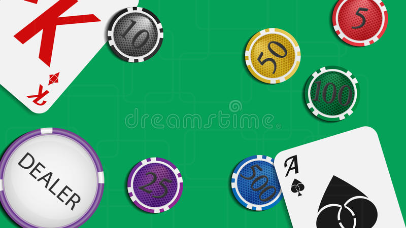 The composition of the playing cards and poker chips. Green baize gaming table with space for your text. royalty free illustration