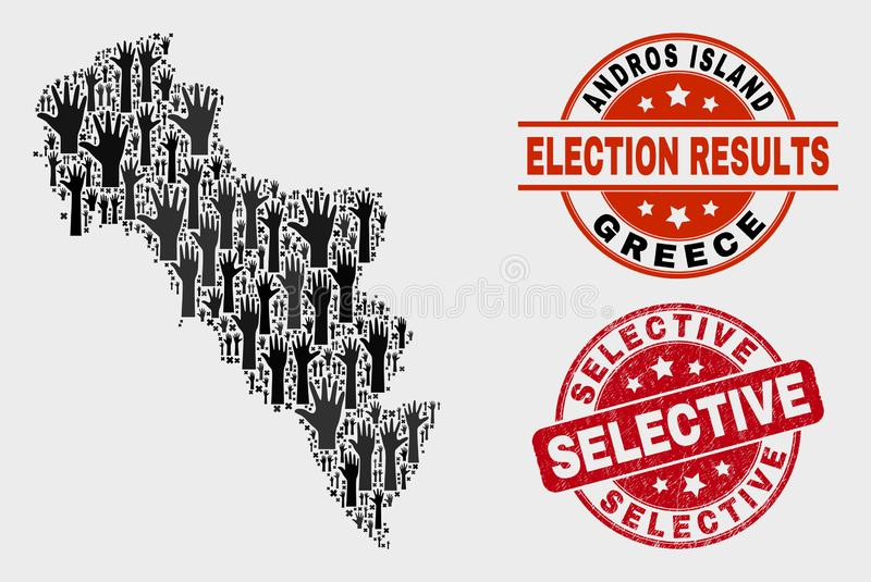 Composition of Poll Andros Island of Greece Map and Distress Selective Stamp. Electoral Andros Island of Greece map and seals. Red round Selective grunge seal royalty free illustration