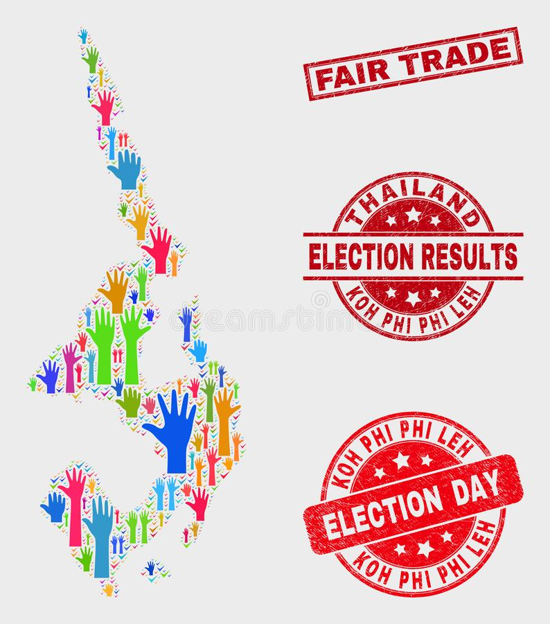 Composition of Poll Koh Phi Leh Map and Distress Fair Trade Watermark stock illustration