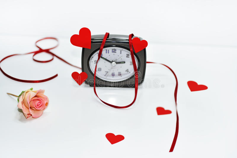 Composition of preparing to Valentine day. Abstract composition of preparing to Valentine day. Isolated on white background stock photos