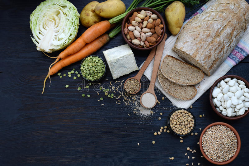 Composition of products containing thiamine, aneurin, vitamin B1 - whole grain bread, cereals, vegetables, legumes, soy, potatoes,. Molded cheese, nuts, yeast stock photo