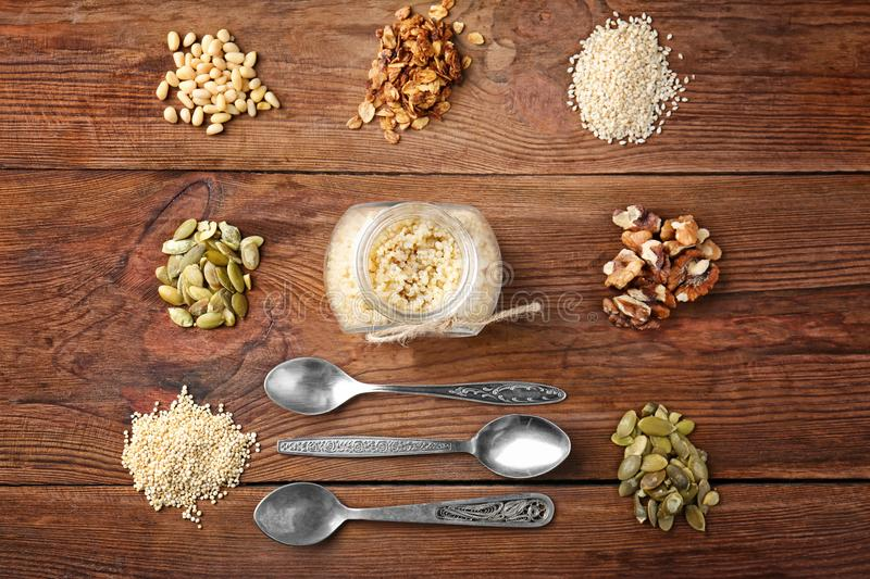 Composition with quinoa, walnuts, pumpkin seeds royalty free stock photography