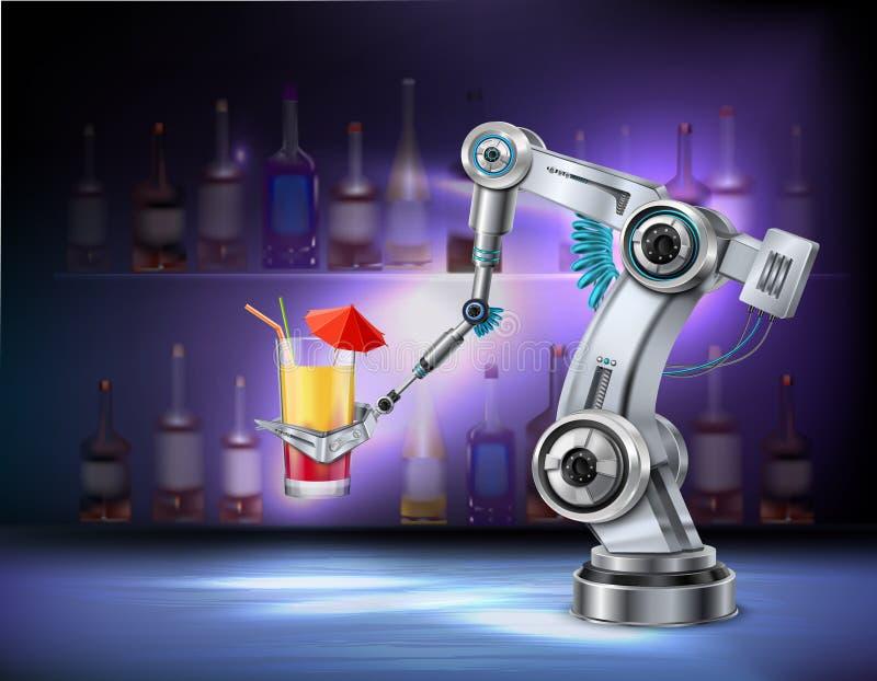 Composition réaliste en bras robotique illustration stock