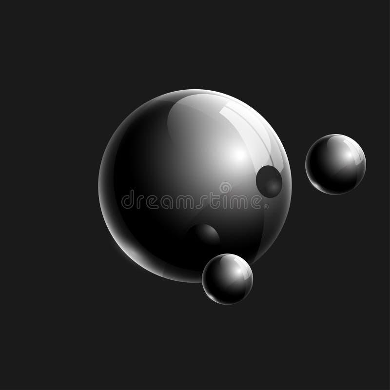 Composition réaliste noire en boules 3d en verre pour la conception illustration stock