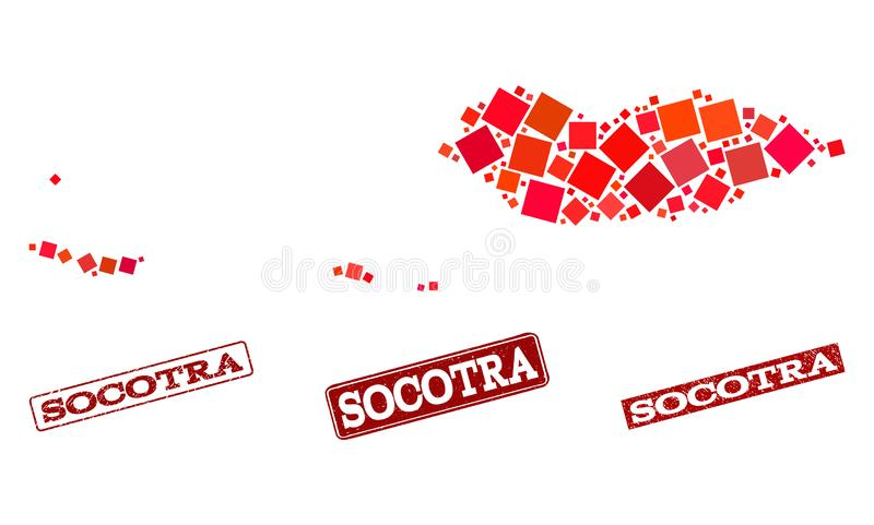 Mosaic Map of Socotra Archipelago and Scratched School Seal Composition. Mosaic puzzle map of Socotra Archipelago and scratched school seal with ribbon. Vector royalty free illustration