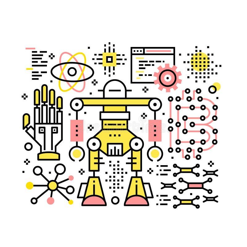 Composition robotique et d'automatisation en collage illustration stock