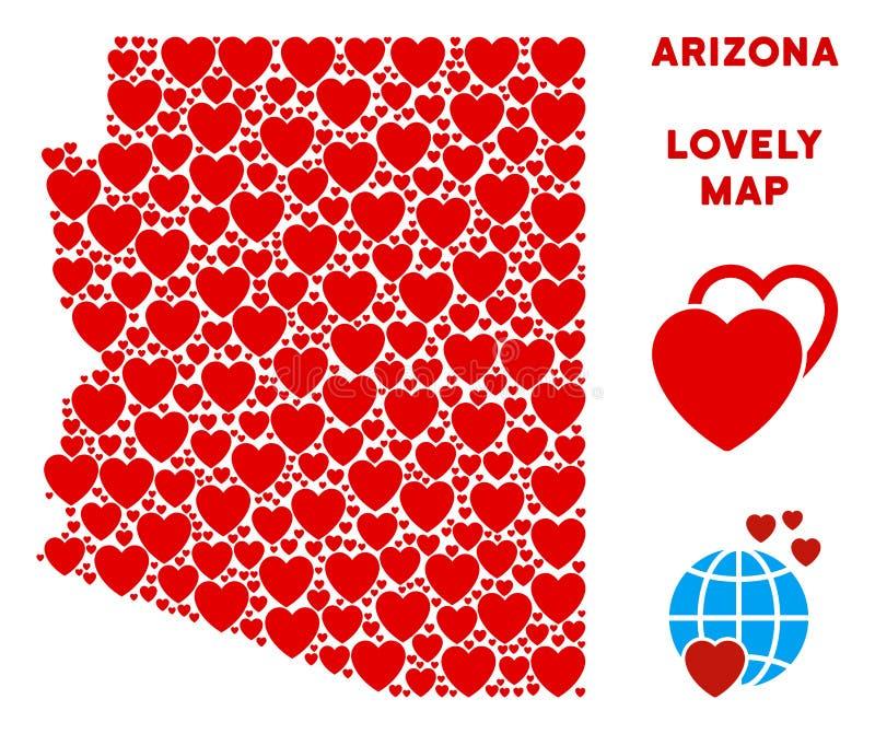 Composition romantique de carte d'état de l'Arizona de vecteur des coeurs illustration stock