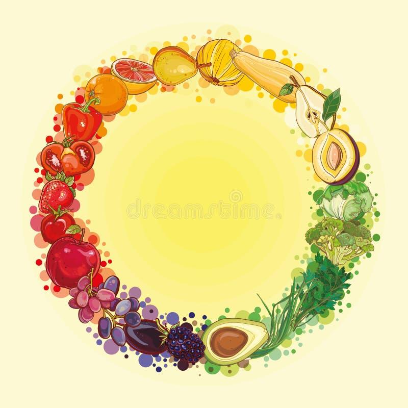 Composition ronde avec des fruits et légumes Cercle de nourriture illustration stock