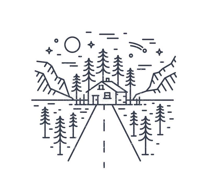 Composition ronde avec la route menant pour loger, la maison ou la hutte dans la r?gion bois?e entour?e par les arbres impeccable illustration de vecteur