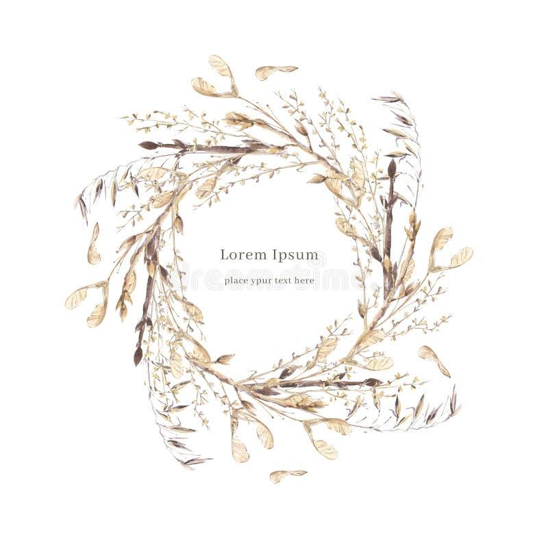 Composition ronde en aquarelle avec les herbes brunes s?ches Calibre de guirlande de carte illustration stock