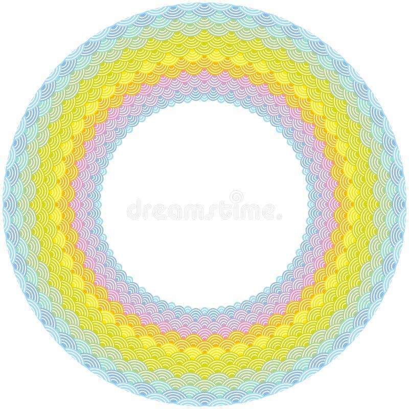 Composition ronde en guirlande de cadre d'arc-en-ciel mesure le fond simple de nature avec l'unité centrale jaune-orange de rose  illustration stock
